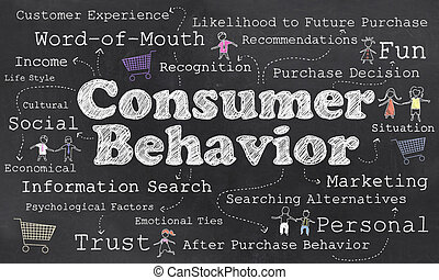 Words of Consumer Behavior with Chalk on Blackboard