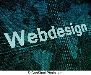 Words on digital world map concept: Webdesign