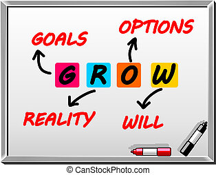 Words on whiteboard GROW Goals, reality, options, will