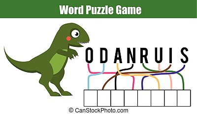 Words puzzle children educational game. Place the letters in...