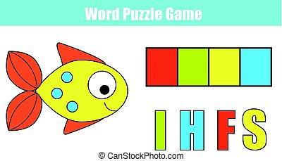 Words puzzle children educational game with colorful code....