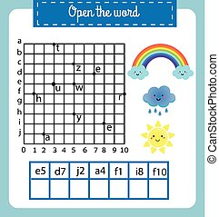 Words puzzle children educational game with coordinate grid....