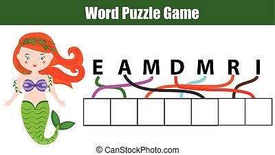 Words puzzle children educational game with letters maze....