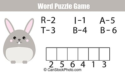 Words puzzle children educational game with numbers code....