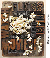words related to movies and popcorn