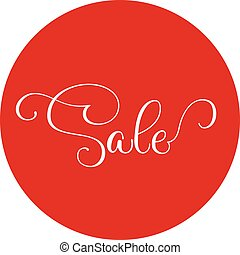 Words sale round red sticker isolated on white. Vector illustration