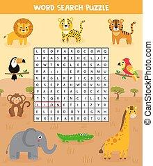 Words search puzzle for children. Set of safari animals.