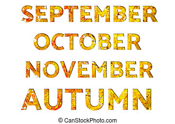Words September, October, November, Autumn, made from autumn pictures with maple leaves, isolated on white background