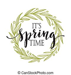 Words Spring with wreath. Vector illustration EPS10