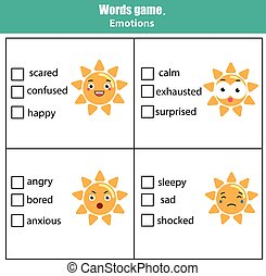 Words test educational game for children. Emotions theme -...