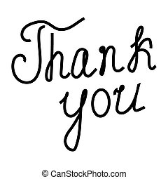 thank you words written by 3d hand over white
