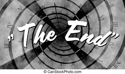 Words The End are displayed on clock in the background