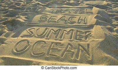 Words: travel, beach, summer, ocean on sand. Light and shade...