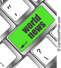 words world news on computer keyboard key