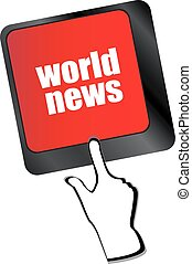 words world news on computer keyboard key vector
