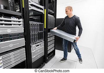 woring, esso consulente, installare, scaffale, server