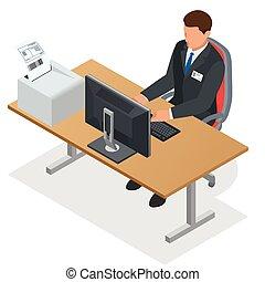 work., ベクトル, 人, 見る, computer., 順序, ラップトップ, 平ら, 仕事, screen., イラスト, 等大, china., ビジネスマン, 3d