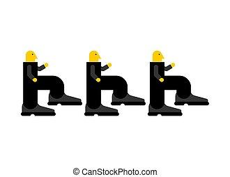 work., 労働者, イラスト, マネージャー, ベクトル, ステップ, 行く, 行きなさい, job.