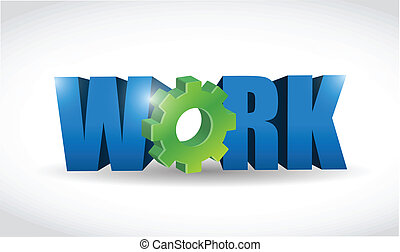 work 3d text illustration design