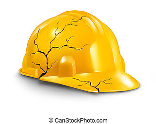 Work accident and health hazards on the job as a broken cracked yellow hardhat helmet as a symbol of working injury and insurance claims from physical damage and pain to the worker.