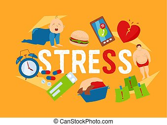 Work and stress factors icons banner vector illustration. Crying kid character. Health problems. Fat man, broken heart, pills, dirty clothing, clock, deadlines at work, junk food.