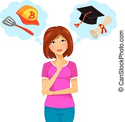 work and study - worried woman thinking about college and...