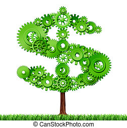 Making money and building wealth symbol represented by a growing tree in the shape of a dollar sign made of gears and coggs showing the concept of success and profits from manufacturing and providing services.