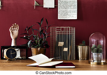 Work area with red wall