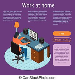 Work at home concept background, isometric style