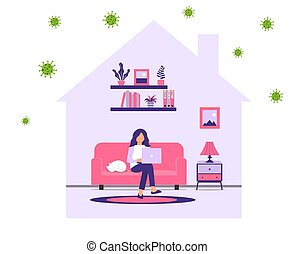 Work at home during an outbreak of the COVID-19 virus. People work at home to prevent a viral infection. Girl works on laptop at home. Quarantine to prevent coronovirus infection.