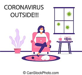 Work at home during an outbreak of the COVID-19 virus.