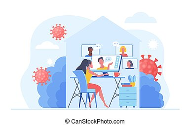 Work at home during COVID-19 quarantine virus to prevent a viral infection. People working online, video meeting conference and chat at home. Social-distance concept vector illustration.