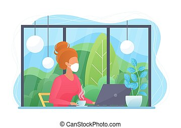 Work at home during COVID-19 quarantine virus to prevent a viral infection. Young pretty woman working with laptop computer at home office. Social distance concept flat vector illustration.