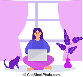 Work at home, freelance. Girl works on a laptop quarantined coronavirus. Young woman in telework self isolation. Vector illustration.