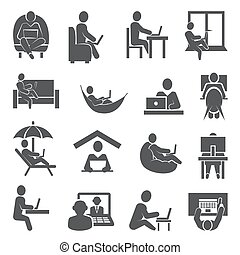 Work at home icons on white background