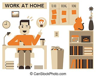 Work at home - Illustration of a happy man working at home
