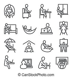 Work at home line icons on white background