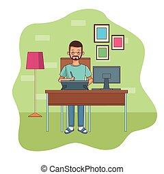 work at home man character vector illustration design