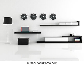 work at home - work space in a minimalist living room -...