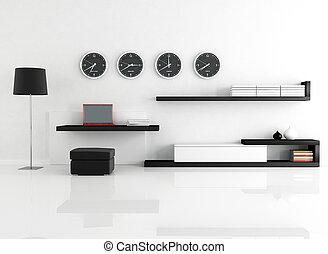 work space in a minimalist living room - rendering