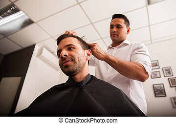 Work at the barber shop