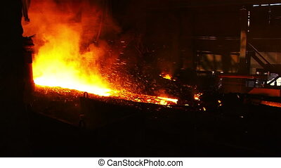 Work blast furnace shop - Molten metal melted in furnace at...