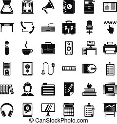 Work book icons set, simple style