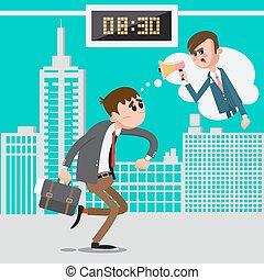 work., boos, illustratie, baas, laat, megaphone., vector, zakenman, haast, gegil, man