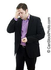 work., business, déprimé, sur, isolé, jeune regarder, fond, portrait, blanc, homme