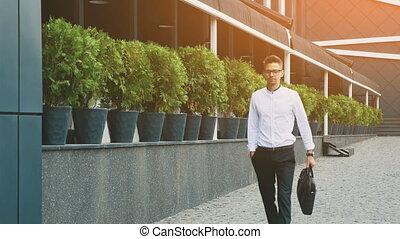 work., business, habillé, jeune, va, homme affaires, vêtements