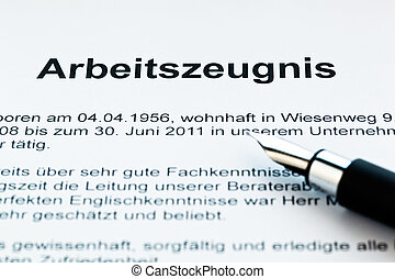 Work certificate in German language - The testimony of an...