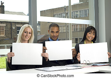 Work colleagues at a meeting