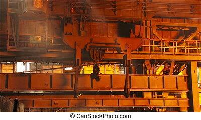 Work crane - Hot steel pouring in steel plant