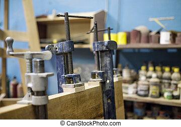 work., de madera, ebanistería, conectar, utilizar, abrazaderas, pegamento, timbers